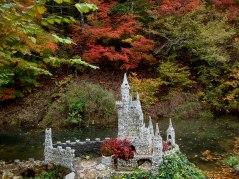 Folk Art Garden castle and trees